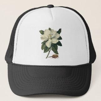 Vintage Blooming White Magnolia Blossom Flowers Trucker Hat