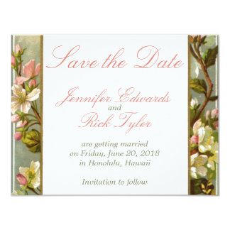 Vintage Blossoms Save the Date Personalized Invitation
