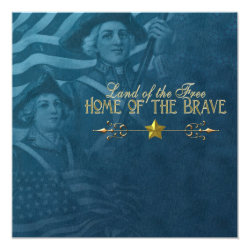 Vintage Blue 4th of July Invitations
