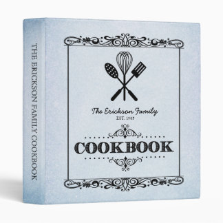 Vintage Blue Aged Paper Family Cookbook 3 Ring Binder
