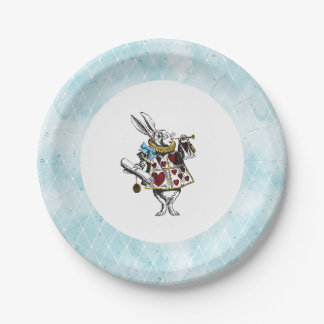 Vintage Blue Alice in Wonderland Rabbit Paper Plate