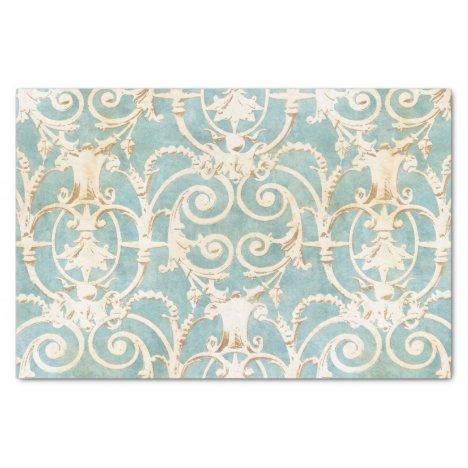 Vintage Blue and Beige Damask Pattern Tissue Paper