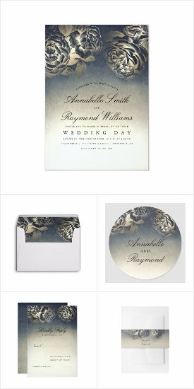 Vintage Blue and Gold Coordinating Wedding Invitation Set