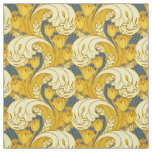 Vintage Blue and Gold Floral Pattern Art Fabric