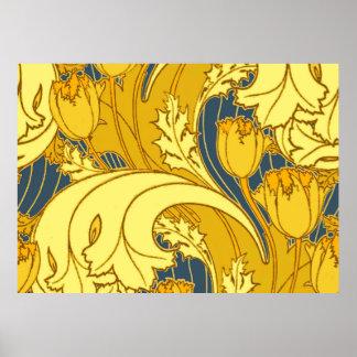 Vintage Blue and Gold Floral Pattern Art Poster