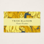 Vintage Blue and Gold Tulip Pattern Business Card