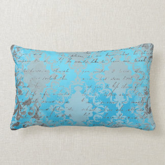 Vintage Blue and Gray Damask with Writing Throw Pillows