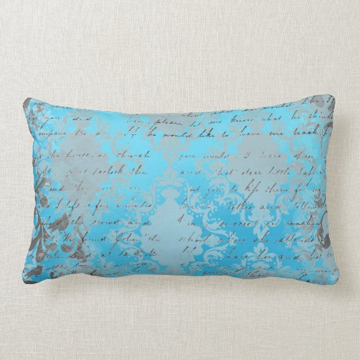 vintage blue and gray damask with writing throw pillows zazzle. Black Bedroom Furniture Sets. Home Design Ideas