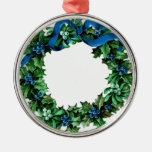 Vintage BLUE and GREEN Christmas Holly Wreath A04 Round Metal Christmas Ornament