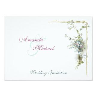 Vintage blue and pink floral wedding card