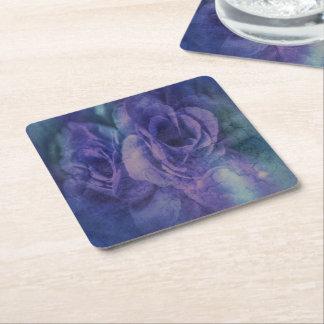 Vintage Blue and Purple Rose Paper Coasters