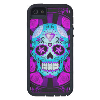 Vintage Blue and Purple Sugar Skull with Roses Cover For iPhone 5