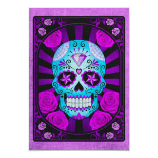 Vintage Blue and Purple Sugar Skull with Roses Personalized Invites