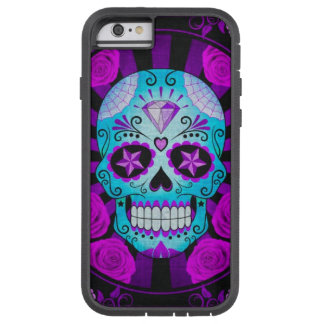 Vintage Blue and Purple Sugar Skull with Roses iPhone 6 Case