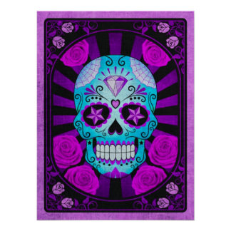 Vintage Blue and Purple Sugar Skull with Roses Print