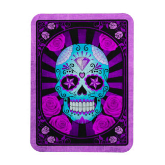 Vintage Blue and Purple Sugar Skull with Roses Rectangular Magnets
