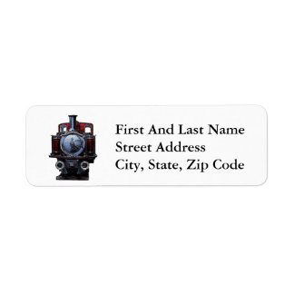 Vintage Blue and Red Train Locomotive Drawing Label
