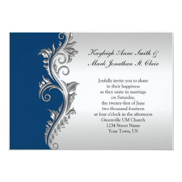 Wedding Invitations Blue And Silver: Vintage Blue And Silver Wedding Invitation