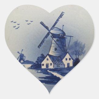 Vintage Blue and White Delft Heart Sticker