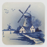 Vintage Blue and White Delft Square Stickers