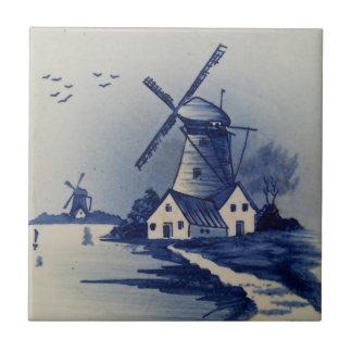 Vintage Blue and White Delft Tile