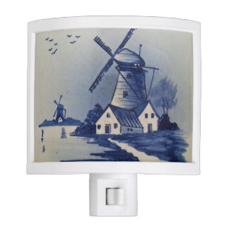 Vintage Blue and White Delft Windmill Night Light