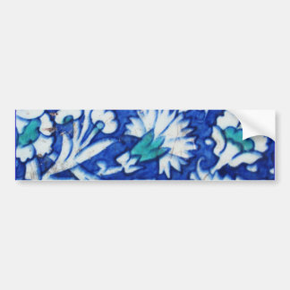 Vintage blue and white floral design Ottoman tile Car Bumper Sticker