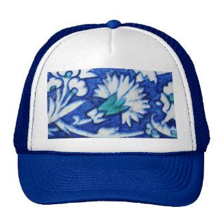Vintage blue and white floral design Ottoman tile Hat