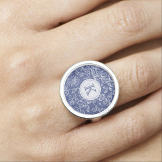 Vintage Blue and White Floral Monogrammed Rings