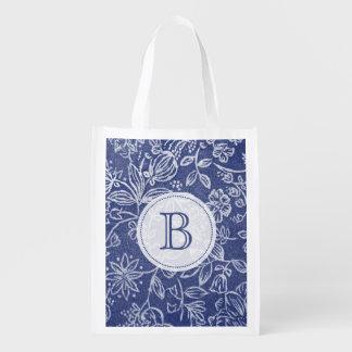 Vintage Blue and White Floral Monogrammed Reusable Grocery Bag