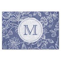 Vintage Blue and White Floral Monogrammed Tissue Paper