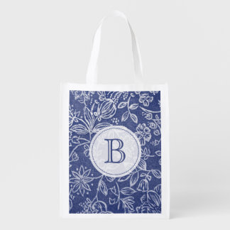 Vintage Blue and White Floral Monogrammed Reusable Grocery Bag