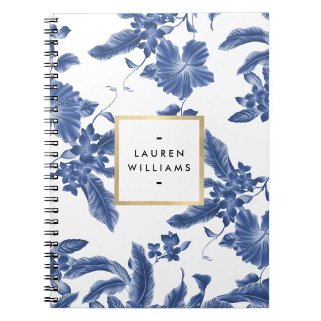 Vintage Blue and White Floral Pattern Notebook