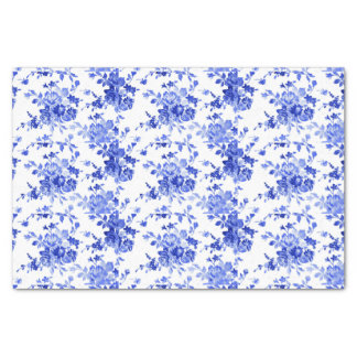 Vintage Blue and White Floral Pattern Tissue Paper