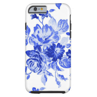 Vintage Blue and White Floral Pattern Tough iPhone 6 Case