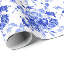 Vintage Blue and White Floral Pattern Wrapping Paper
