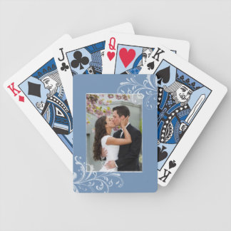 Vintage Blue and White Floral Photo Wedding Bicycle Playing Cards