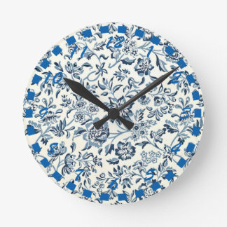 Vintage Blue and White Floral Round Clock