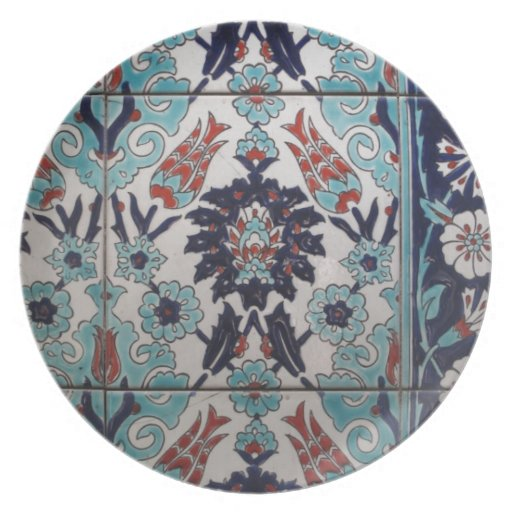 Vintage Blue and White Ottoman tile design Party Plates