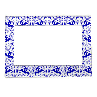 Vintage Blue and White Swirl Magnetic Picture Frame