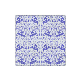 Vintage Blue and White Swirl Stone Magnet