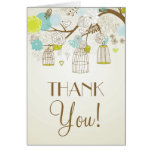 VINTAGE BLUE AND YELLOW BIRDCAGES THANK YOU CARD