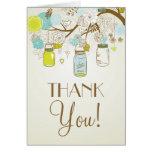 VINTAGE BLUE AND YELLOW MASON JARS THANK YOU CARD