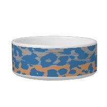 Vintage blue animal print texture of leopard bowl