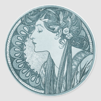 Vintage Blue Art Nouveau Classic Round Sticker