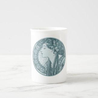 Vintage Blue Art Nouveau Porcelain Mug
