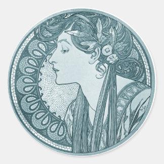 Vintage Blue Art Nouveau Stickers