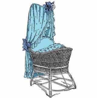 Vintage Blue Baby Bassinet Cutout