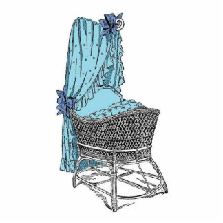 Vintage Blue Baby Bassinet Acrylic Cut Outs