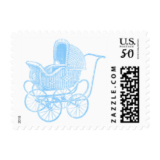 Vintage Blue Baby Carriage Baby Shower Postage